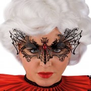Svart Ögonmask i Metal med Spindel och Strass