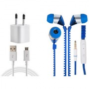 Jiyanshi Combo Of 2A Wall Charger & Stylish Earphone Blue Compatible With Meizu M1 Note