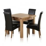 Oak Furnitureland Natural Solid Oak Dining Sets - 3ft Extending Dining Table with 4 Chairs - Dorset Range - Oak Furnitureland