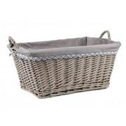 Košík hranatý 52x38x24/29 cm s výstelkou sivý