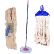 Oanik Home Cleaning Pink Spin mop With Extra 2 Deffrent Refill