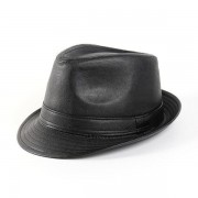 Men Women Leather Black Fedora Panama Jazz Cap Tea Party Bowler Casual Short Brim Gentleman Hats