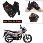 AutoStark Gloves KTM Bike Riding Gloves Orange and Black Riding Gloves Free Size For Mahindra Centuro