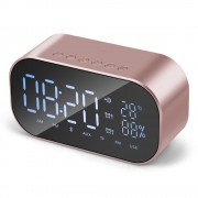 S2 Digital Alarm Clock Radio Wireless Bluetooth Speaker with Dual Alarm & 3.5mm Audio Input - Pink