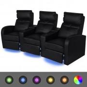 vidaXL Canapea rabatabilă LED cu 3 locuri piele artificială negru