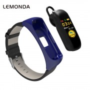 LEMONDA C15 BT EarBand Color Screen Smart Wristband Bracelet Fitness Tracker + Bluetooth Headset - Blue