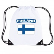 Bellatio Decorations Finland nylon rugzak wit met Finse vlag