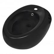 vidaXL Čierný keramický závesný bidet