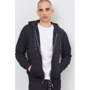 Forever21 French Terry Zip-Up Hoodie BLACK