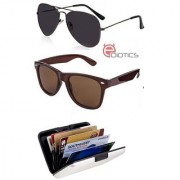 Ediotics Attitude Black Aviator Sunglasses & Classic Brown Wayfarer Sunglasses & Alumi Wallet Combo