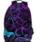 Sleevy laptop rugzak 15,6 Deluxe paars/blauwe bloemen design