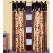 Iliv Brown Chiku Designer Four Ulace Curtains -5Ft Set Of 2