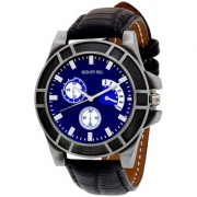 Golden Bell Men'S Black Blue Round Genuine Leather Strap Wrist Watch (441Gb)
