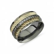 Inel argint lat placat cu rodiu negru cu doua benzi placate cu aur si un sirag de zirconii albe