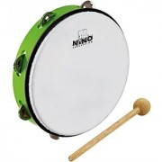 Nino Percussion Nino24Gg 10-Inch Abs Plastic Tambourine With Synthetic Head 1 Row Jingles Grass Green