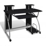 vidaXL Мобилно бюро за компютър с изтеглящ плот за клавиатура, черно