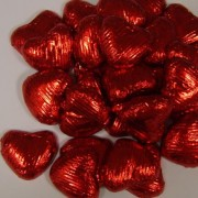 Red Foiled Milk Chocolate Hearts 100G