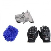 AutoStark Combo Bike Accessories Bike Body Cover Silver With Pro Biker Full Gloves + Bike Cleaning Gloves For Suzuki Bandit