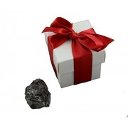 """Lump Of Coal In 2"""" White Box With Red Ribbon And Embossed Gift Card"""