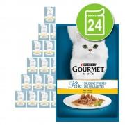 24 x 85 g Gourmet Perle Finas Láminas en sobres con buey comida húmeda para gatos