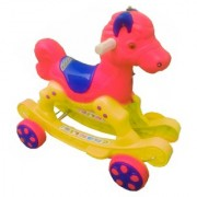Oh BabyMulticolor Rocking Plastic Horse With Wheel SE-RT-13