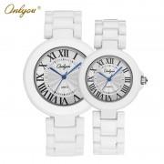 Onlyou Brand White Ceramic Watch Mens Womens 2016 Quartz Watches Wrist Bracelet Boys Girls Fashion Casual Watch Clock 8830