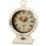 running 12BTL010 Reloj Vintage de Mesa, Blanco con Rosas