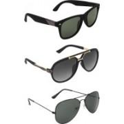 Zyaden Wayfarer, Aviator, Rectangular Sunglasses(Green, Black, Black)