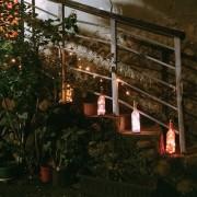 Napelemes LED borosüveg dugó világítás meleg fehér