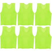 SAS Sports Training Bibs Scrimmage Vests Pennies for Soccer - Extra Large size (72 x 62cm) Fluorescent Green color Set of 6