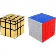 5x5 Gold Mirror Combo Puzzle Magic Rubik Cube 2 Pieces Learning and Brainstorming Game