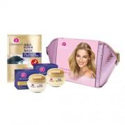 Dermacol Gold Elixir set cadou cremă de zi SPF10 50 ml + crema de noapte 50 ml + mască faciala 2 x 8 g + geantă cosmetică pentru femei