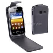 Samsung Galaxy Y Duos S6102 Flip Калъф Черен + Протектор