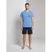 TOM TAILOR Pyjama met gestreepte top en korte shorts, blue-medium-allover, 56/XXL