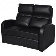 vidaXL 2 személyes fekete dönthető támlájú műbőr fotel