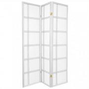 Oriental Furniture Light Color Simple Plain Bargain Discount, 6-Feet Double Cross Folding Shoji Privacy Floor Screen, 3 Panel White