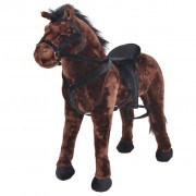 vidaXL Standing Plush Toy Horse Dark Brown XXL