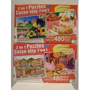 Lot Of Two 2 In 1 Puzzles By Lpf, 480 Piece Boxes, 240 Pieces Per Puzzle, Applelane Farms, Marshmallow Jelly Cake W/ Berries & Fruit Punch, Sweet Tooth Country, Colorful Lollipop Sweets, 4 Puzzles