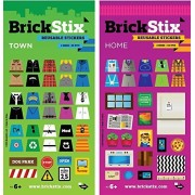 Brick Stix Home + Town 2 Pack Reusable Stickers For Your Bricks (Lego Brick Compatible)