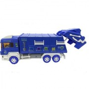 Emob Large Garbage Dump Incredible Finishing Friction Truck Toy with Moving Body Parts for kids (Blue)