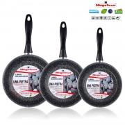 Magefesa K2 Gransasso - Set Juego 3 Sartenes 18-20-24 cm, inducción, antiadherente PIEDRA