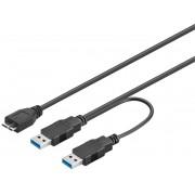 Cavo USB 3.0 SuperSpeed ad Y 2x A M / Micro B M 0,6 m Nero