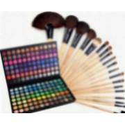 Set Cosmetica Kit Trusa profesionala 168 de farduri make-up si Set 18 Pensule machiaj par natural si par sintetic+Trusa