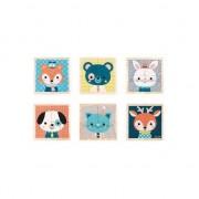 Set cuburi Janod Portret animale, din lemn