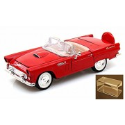 Diecast Car & Accessory Package - 1956 Ford Thunderbird Convertible, Red - Motormax 73215 - 1/24 scale Diecast Model Toy Car w/display case