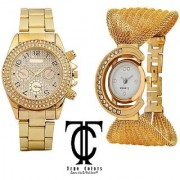 Golden Men Women COMBO FASHION HUNT Analog Watch - For Boys Men Girls Women Couple UIK