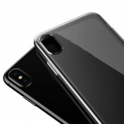Apple Baseus eenvoudige reeks voor iPhone X zachte transparante TPU beschermende back cover Case(Black White)