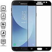 FULL GLUE (GUM) Coloured Tempered Glass for Samsung Galaxy J7 PRO (ORIGINAL 5D CURVED 9H GLASS) Full Screen Protection (BLACK)