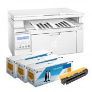 Pachet Multifunctional laser mono HP Laserjet M130NW si 3 tonere echivalente CF217A