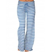 Meco Casual Loose Stripe Elastic Waist Women Pants